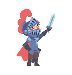 knight boy character in armour with sword cartoon vector image