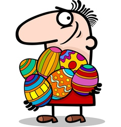 man with easter eggs cartoon vector image