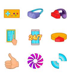 Manual device icons set cartoon style vector