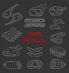 meat products sketch vector image