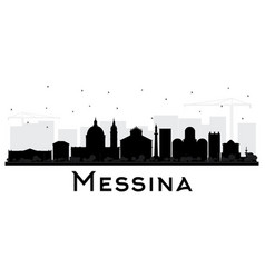 Messina sicily italy city skyline silhouette with vector
