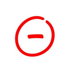 Minus sign inside a circle negative symbol vector