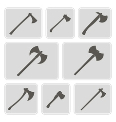 monochrome icons with axes vector image vector image