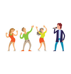 musician giving performance for people dancing vector image