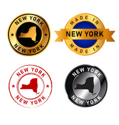 new york city badge gold stamp rubber band circle vector image