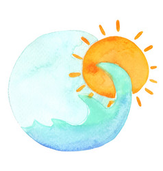 ocean wave and sunrise morning banner watercolor vector image