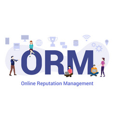 Orm online reputation management concept with big vector