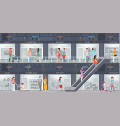 People shopping in a shopping mall vector