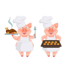 piggy cooking different dishes for new year table vector image