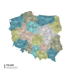 Poland higt detailed map with subdivisions vector