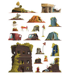 post apocalypse cartoon set vector image