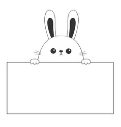 Rabbit happy face head icon hanging on paper vector