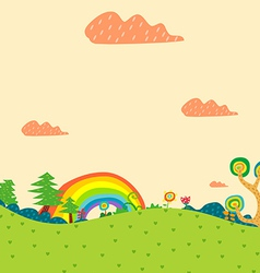 Rainbow and lanscape vector