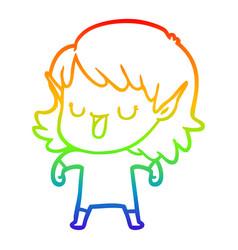 Rainbow gradient line drawing cartoon elf girl vector