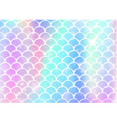 Rainbow scales background with kawaii mermaid vector