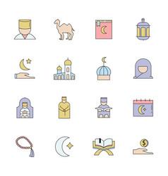 Ramadan kareem icons set isolated vector