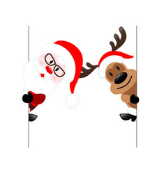 Reindeer amp santa claus diagonal banner on vector