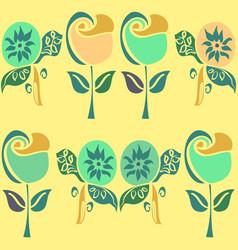 retro flowers pattern in fresh funky green vector image