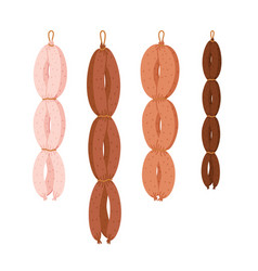 Sausage string meat delicatessen on white vector