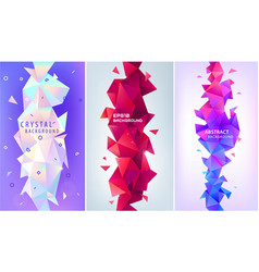 set abstract geometric 3d facet shapes vector image