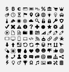 set black icons for web design symbols vector image