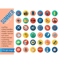 set colorful summer vacation beach seaside vector image