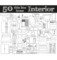 Set of 50 icons for Interior in thin line slyle vector image