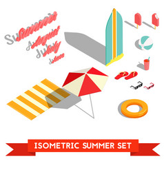 set of isometric summer vacation elements vector image
