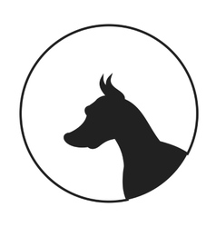 Silhouette a dog head doberman pinscher vector