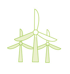 Silhouette windpower technology to environment vector