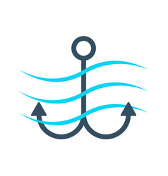simple anchor icon with waves vector image
