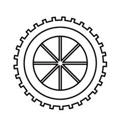 sketch silhouette gear wheel component icon vector image