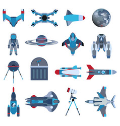 spacecrafts rocket icon set spaceship galaxy vector image