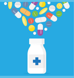 tablets and capsules white bottle for tablets vector image