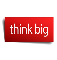 Think big red paper sign on white background vector
