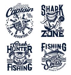 tshirt prints underwater animals mascots vector image
