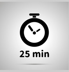 Twenty five minutes timer simple black icon with vector