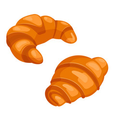 Two croissants bake puff pastry color flat design vector