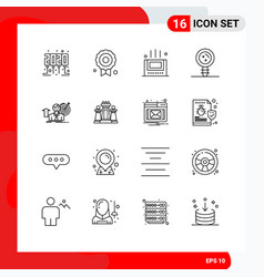 User interface pack 16 basic outlines of vector