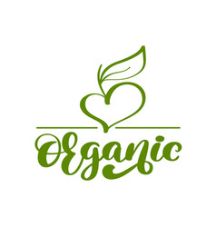 vegan green organic nature logo template vector image