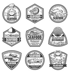 vintage monochrome seafood labels set vector image