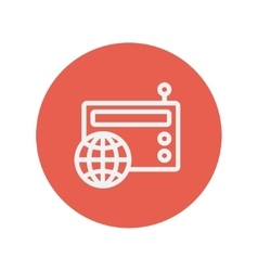 Vintage world radio thin line icon vector