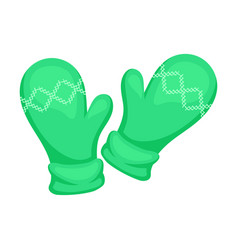 Warm green mittens on a white vector