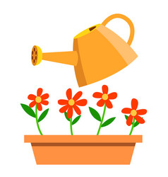 watering can and flowers isolated cartoon vector image