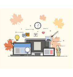 web and mobile design and developing autumn fall vector image