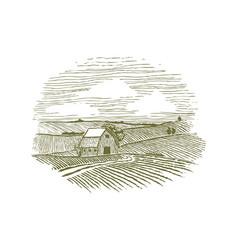 woodcut farm fields vector image
