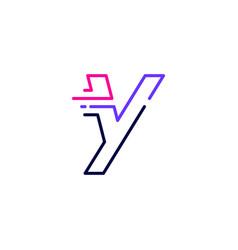 Y letter dash lowercase tech digital fast quick vector