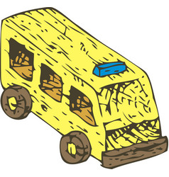 Yellow wooden toys ambulance car vector