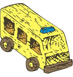 yellow wooden toys ambulance car vector image