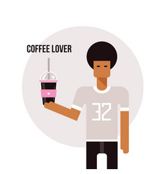 young african american man holding cup with vector image